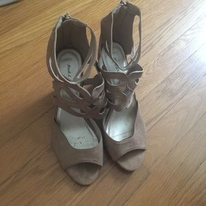 Shoes - Tan beige suede peep toe wedge sandals size 6